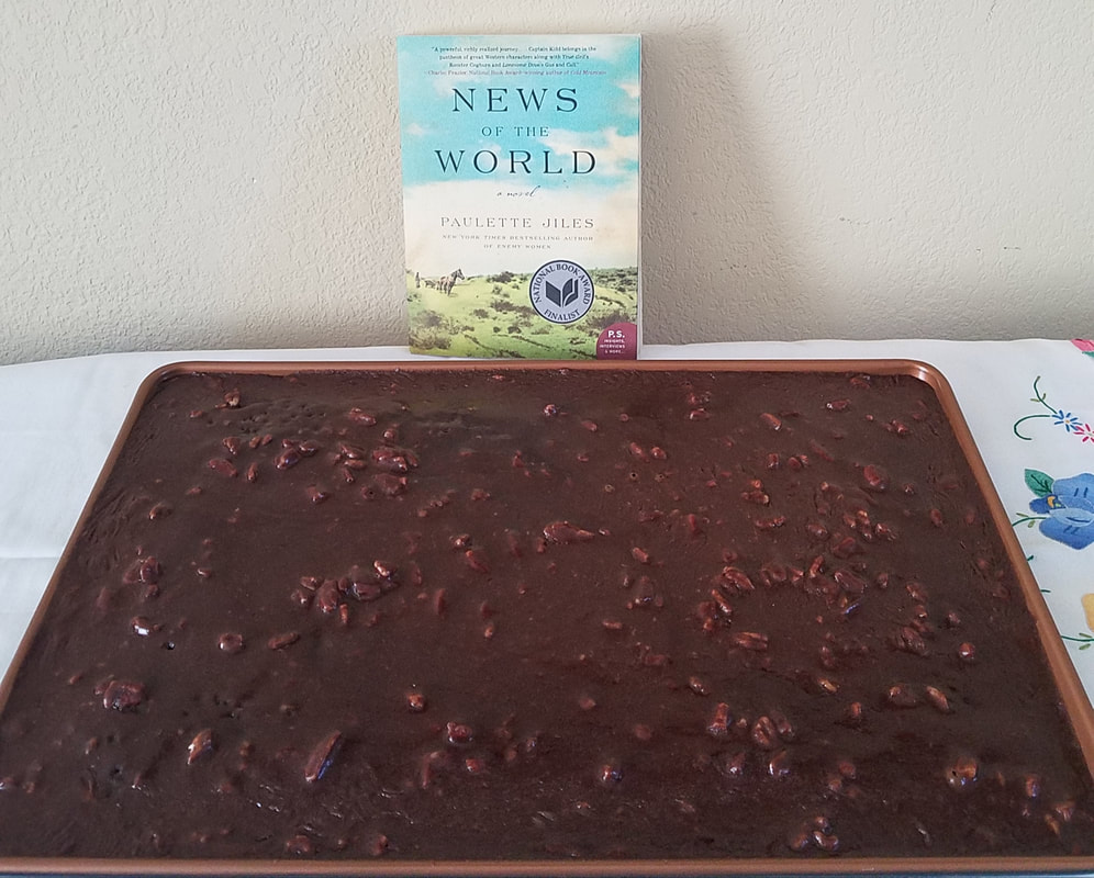 Texas chocolate sheet cake on Go Beyond Book Club