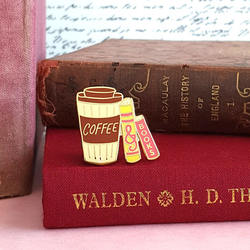 Coffee & Books - Bookish Enamel Pin for book lovers