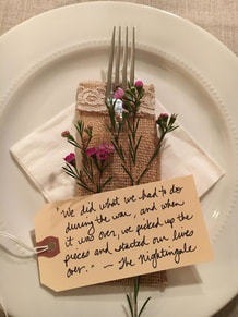 book club table setting with tag quote