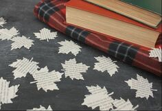Package of Confetti or Table Scatters - large leaves cut from vintage book pages. 100 leaves per package on Go Beyond Book Club