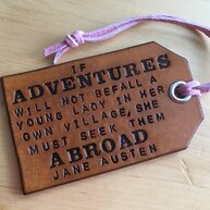 Jane Austen luggage tag quote on Go Beyond Book Club