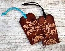Tolkien quote leather luggage tag on Go Beyond bookish shop